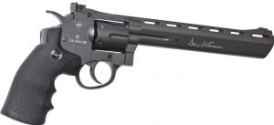 asg dan wesson black 8 inch airsoft revolver with speed loader