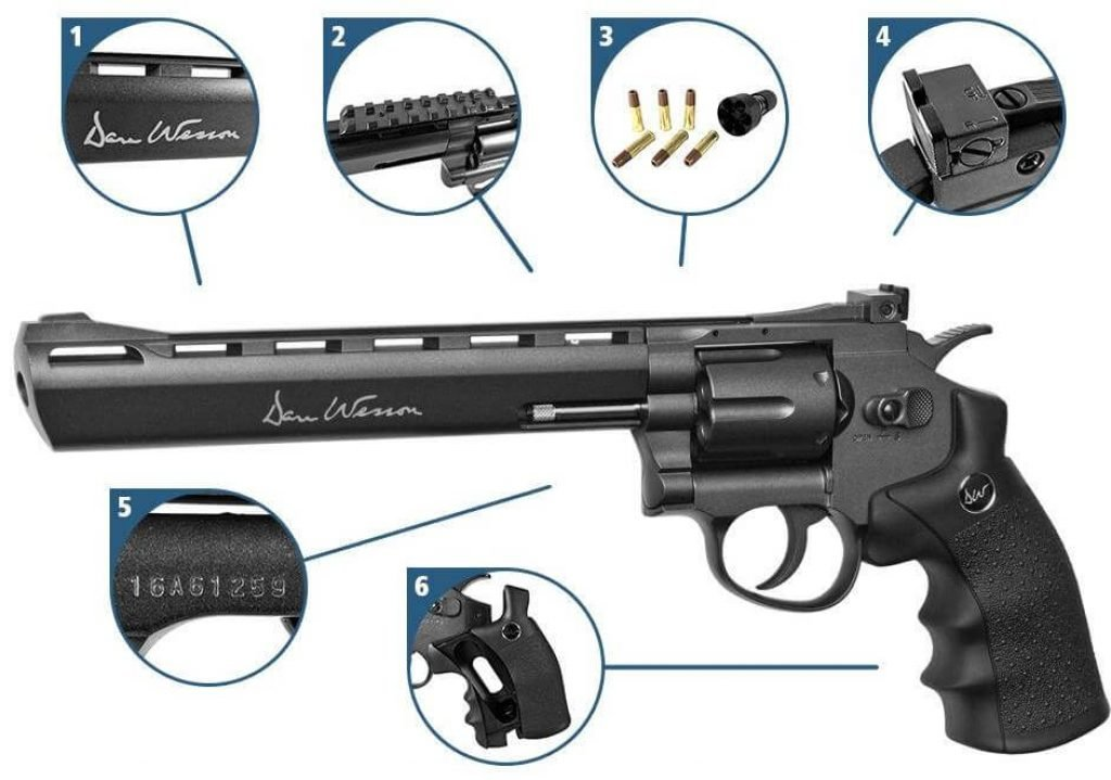 asg dan wesson black airsoft revolved with quick load rounds and explaination