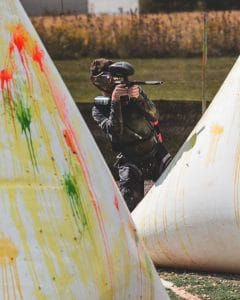 paintball player in competitive setting